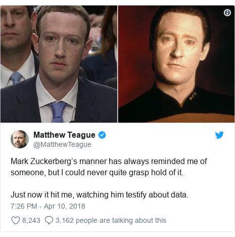 Twitter post by @MatthewTeague: Mark Zuckerberg's manner has always reminded me of someone, but I could never quite grasp hold of it. Just now it hit me, watching him testify about data.