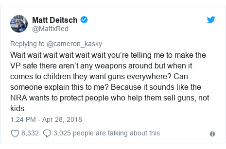 Twitter post by @MattxRed: Wait wait wait wait wait wait you're telling me to make the VP safe there aren't any weapons around but when it comes to children they want guns everywhere? Can someone explain this to me? Because it sounds like the NRA wants to protect people who help them sell guns, not kids.
