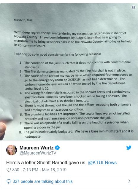 Twitter post by @MaureenWurtzTV: Here's a letter Sheriff Barnett gave us. @KTULNews