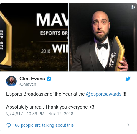 Twitter post by @Maven: Esports Broadcaster of the Year at the @esportsawards !!!Absolutely unreal. Thank you everyone <3