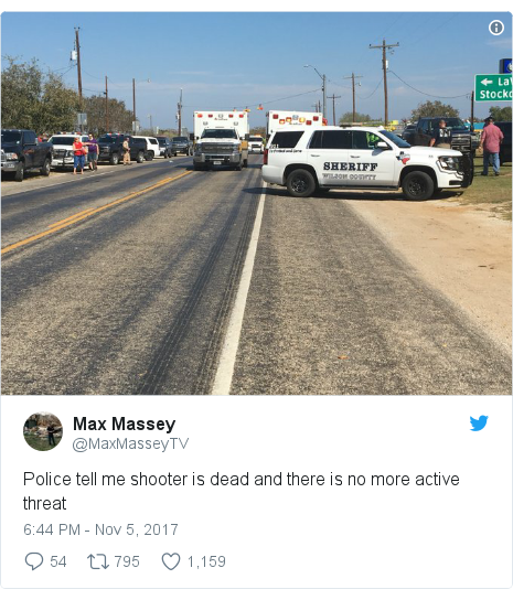 Twitter post by @MaxMasseyTV: Police tell me shooter is dead and there is no more active threat
