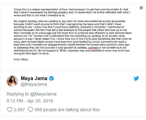 Twitter post by @MayaJama: