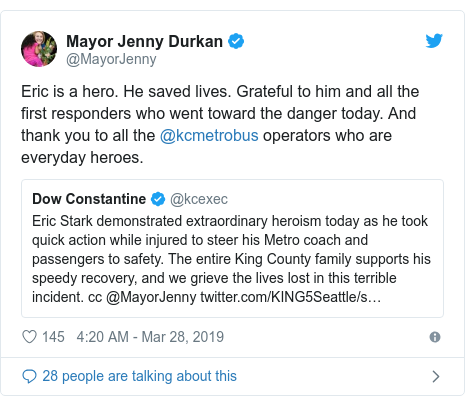 Twitter post by @MayorJenny: Eric is a hero. He saved lives. Grateful to him and all the first responders who went toward the danger today. And thank you to all the @kcmetrobus operators who are everyday heroes.