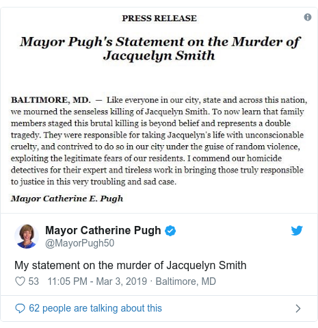 Twitter post by @MayorPugh50: My statement on the murder of Jacquelyn Smith