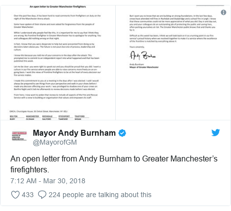 Twitter post by @MayorofGM: An open letter from Andy Burnham to Greater Manchester's firefighters.
