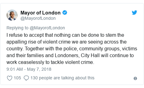 Twitter post by @MayorofLondon: I refuse to accept that nothing can be done to stem the appalling rise of violent crime we are seeing across the country. Together with the police, community groups, victims and their families and Londoners, City Hall will continue to work ceaselessly to tackle violent crime.