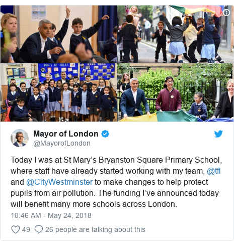 Twitter post by @MayorofLondon: Today I was at St Mary's Bryanston Square Primary School, where staff have already started working with my team, @tfl and @CityWestminster to make changes to help protect pupils from air pollution. The funding I've announced today will benefit many more schools across London.