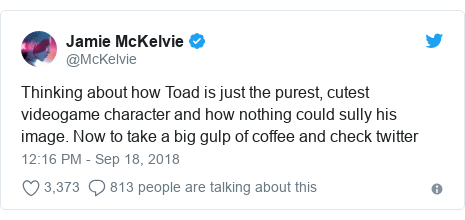 Twitter post by @McKelvie: Thinking about how Toad is just the purest, cutest videogame character and how nothing could sully his image. Now to take a big gulp of coffee and check twitter