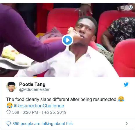 Twitter post by @Mdudemeister: The food clearly slaps different after being resurrected.😂😂 #ResurrectionChallenge