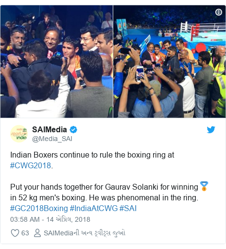 Twitter post by @Media_SAI: Indian Boxers continue to rule the boxing ring at #CWG2018. Put your hands together for Gaurav Solanki for winning🥇 in 52 kg men's boxing. He was phenomenal in the ring. #GC2018Boxing #IndiaAtCWG #SAI