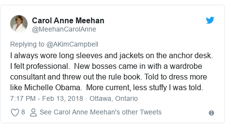 Twitter post by @MeehanCarolAnne: I always wore long sleeves and jackets on the anchor desk. I felt professional. New bosses came in with a wardrobe consultant and threw out the rule book. Told to dress more like Michelle Obama. More current, less stuffy I was told.