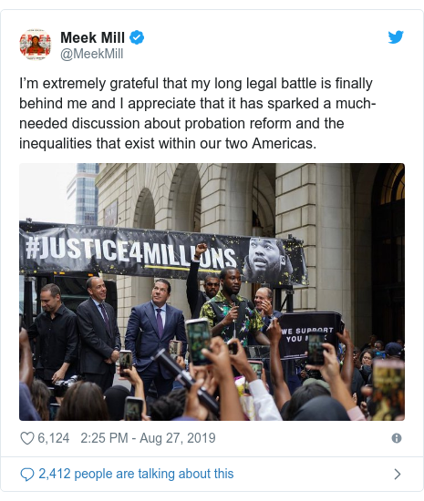 Twitter post by @MeekMill: I'm extremely grateful that my long legal battle is finally behind me and I appreciate that it has sparked a much-needed discussion about probation reform and the inequalities that exist within our two Americas.
