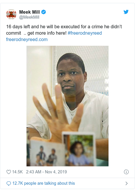 Twitter post by @MeekMill: 16 days left and he will be executed for a crime he didn't commit  .. get more info here! #freerodneyreed