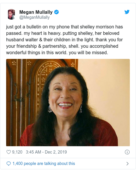 Twitter post by @MeganMullally: just got a bulletin on my phone that shelley morrison has passed. my heart is heavy. putting shelley, her beloved husband walter & their children in the light. thank you for your friendship & partnership, shell. you accomplished wonderful things in this world. you will be missed.