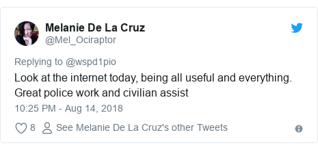 Twitter post by @Mel_Ociraptor: Look at the internet today, being all useful and everything. Great police work and civilian assist