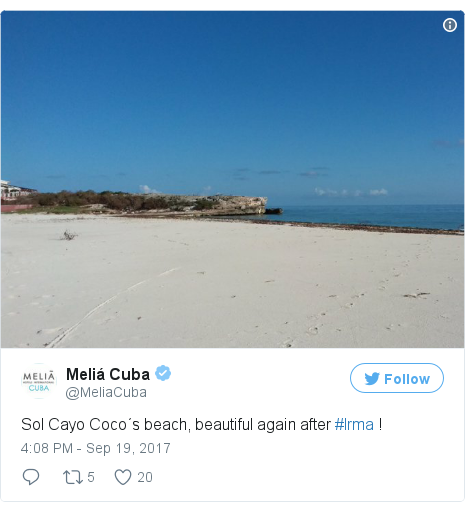 Twitter post by @MeliaCuba: Sol Cayo Coco´s beach, beautiful again after #Irma ! pic.twitter.com/PZ6gC7YDrX