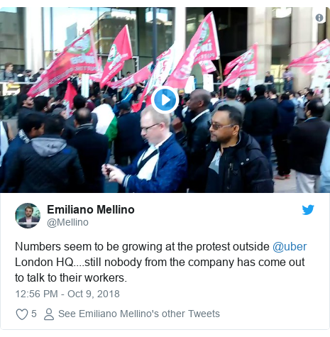 Twitter post by @Mellino: Numbers seem to be growing at the protest outside @uber London HQ....still nobody from the company has come out to talk to their workers.