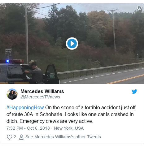 Twitter post by @MercedesTVnews: #HappeningNow On the scene of a terrible accident just off of route 30A in Schoharie. Looks like one car is crashed in ditch. Emergency crews are very active.