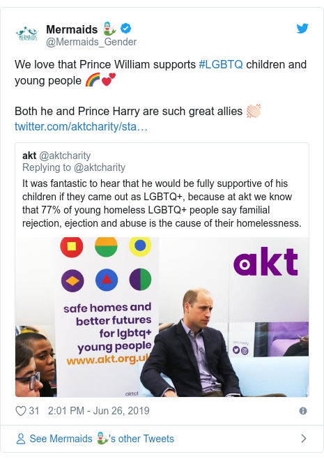 Twitter post by @Mermaids_Gender: We love that Prince William supports #LGBTQ children and young people 🌈💕Both he and Prince Harry are such great allies 👏🏻