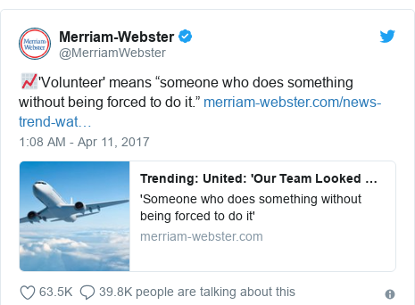 """Twitter post by @MerriamWebster: 📈'Volunteer' means """"someone who does something without being forced to do it."""""""