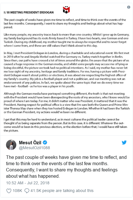 Twitter post by @MesutOzil1088: The past couple of weeks have given me time to reflect, and time to think over the events of the last few months. Consequently, I want to share my thoughts and feelings about what has happened.