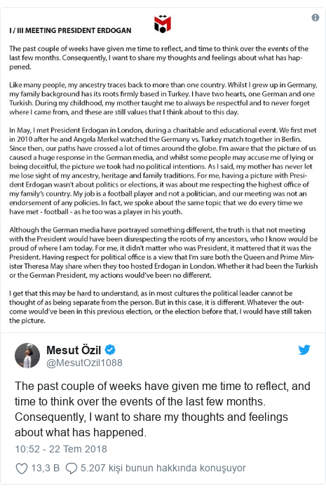 @MesutOzil1088 tarafından yapılan Twitter paylaşımı: The past couple of weeks have given me time to reflect, and time to think over the events of the last few months. Consequently, I want to share my thoughts and feelings about what has happened.