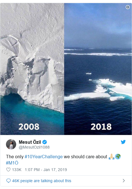Twitter post by @MesutOzil1088: The only #10YearChallenge we should care about 🙏🏼🌍 #M1Ö