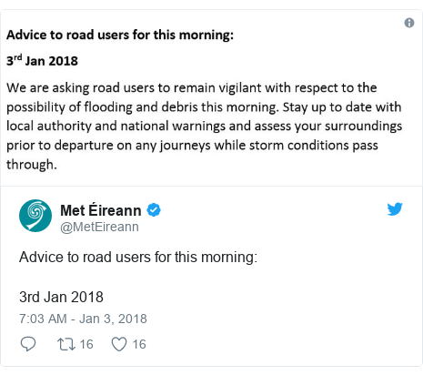 Twitter post by @MetEireann: Advice to road users for this morning 3rd Jan 2018