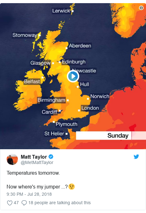 Twitter post by @MetMattTaylor: Temperatures tomorrow.Now where's my jumper ...?😉
