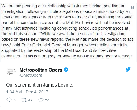 Twitter post by @MetOpera: Our statement on James Levine