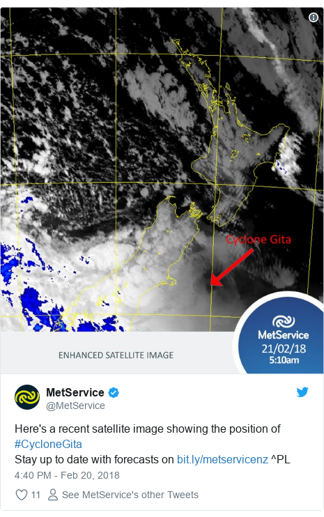 Twitter post by @MetService: Here's a recent satellite image showing the position of #CycloneGitaStay up to date with forecasts on  ^PL