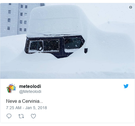 Twitter post by @Meteolodi: Neve a Cervinia...