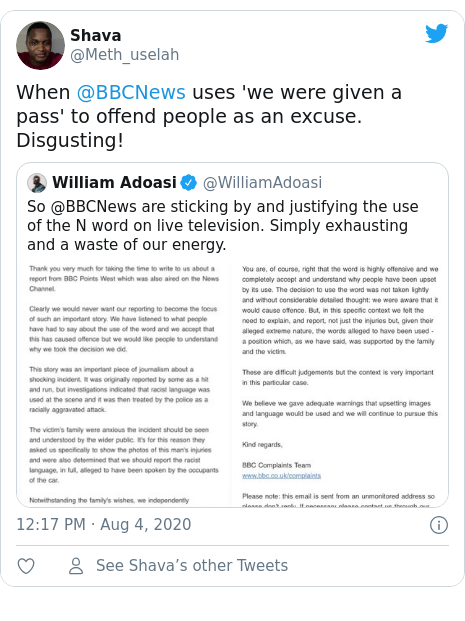 Twitter post by @Meth_uselah: When @BBCNews uses 'we were given a pass' to offend people as an excuse. Disgusting!