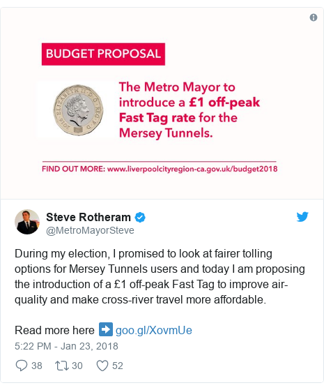 Twitter post by @MetroMayorSteve: During my election, I promised to look at fairer tolling options for Mersey Tunnels users and today I am proposing the introduction of a £1 off-peak Fast Tag to improve air-quality and make cross-river travel more affordable. Read more here ➡️