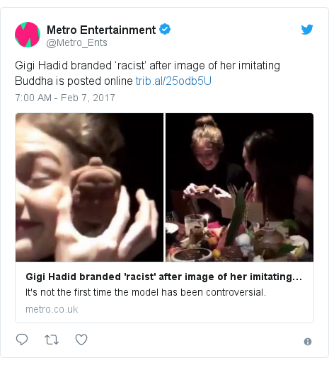 Twitter post by @Metro_Ents: Gigi Hadid branded 'racist' after image of her imitating Buddha is posted online