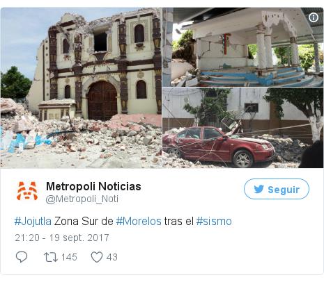 Publicación de Twitter por @Metropoli_Noti: #Jojutla Zona Sur de #Morelos tras el #sismo pic.twitter.com/z8HkHE1z8z