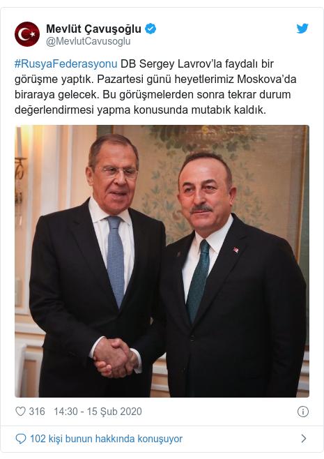 @MevlutCavusoglu tarafından yapılan Twitter paylaşımı: #RusyaFederasyonu DB Sergey Lavrov'la faydalı bir görüşme yaptık. Pazartesi günü heyetlerimiz Moskova'da biraraya gelecek. Bu görüşmelerden sonra tekrar durum değerlendirmesi yapma konusunda mutabık kaldık.