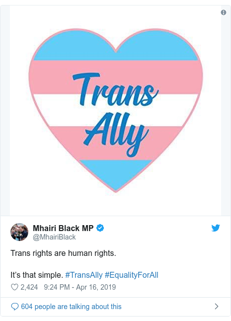 Twitter post by @MhairiBlack: Trans rights are human rights. It's that simple. #TransAlly #EqualityForAll