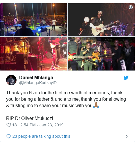 Ujumbe wa Twitter wa @MhlangaKudzayiD: Thank you Nzou for the lifetime worth of memories, thank you for being a father & uncle to me, thank you for allowing & trusting me to share your music with you🙏🏾RIP Dr Oliver Mtukudzi