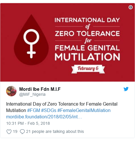 Twitter post by @MiF_Nigeria: International Day of Zero Tolerance for Female Genital Mutilation #FGM #SDGs #FemaleGenitalMutilation