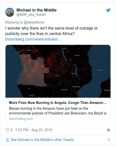 Twitter post by @MiM_aka_Askari: I wonder why there isn't the same level of outrage or publicity over the fires in central Africa?