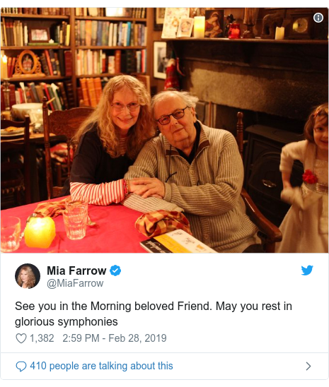 Twitter post by @MiaFarrow: See you in the Morning beloved Friend. May you rest in glorious symphonies