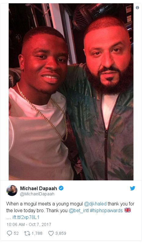 Twitter post by @MichaelDapaah: When a mogul meets a young mogul @djkhaled thank you for the love today bro. Thank you @bet_intl #hiphopawards 🇬🇧 …