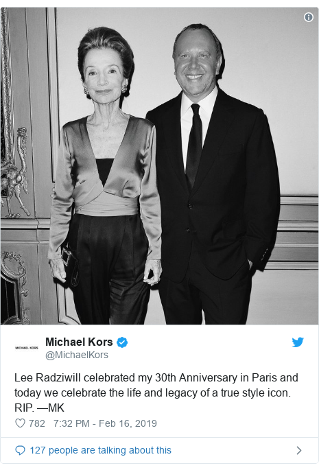 Twitter post by @MichaelKors: Lee Radziwill celebrated my 30th Anniversary in Paris and today we celebrate the life and legacy of a true style icon. RIP. —MK