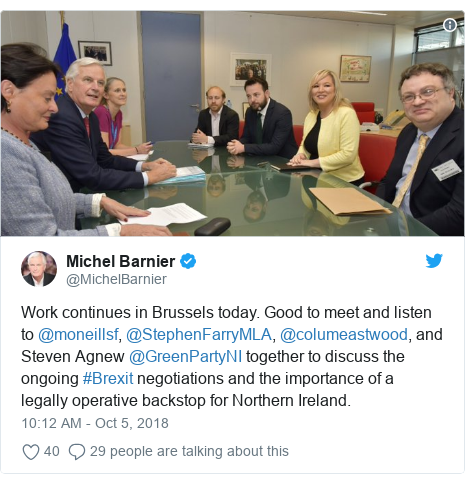Twitter post by @MichelBarnier: Work continues in Brussels today. Good to meet and listen to @moneillsf, @StephenFarryMLA, @columeastwood, and Steven Agnew @GreenPartyNI together to discuss the ongoing #Brexit negotiations and the importance of a legally operative backstop for Northern Ireland.