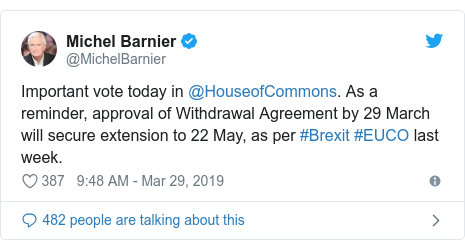 Twitter post by @MichelBarnier: Important vote today in @HouseofCommons. As a reminder, approval of Withdrawal Agreement by 29 March will secure extension to 22 May, as per #Brexit #EUCO last week.