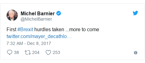 Twitter post by @MichelBarnier: First #Brexit hurdles taken ...more to come