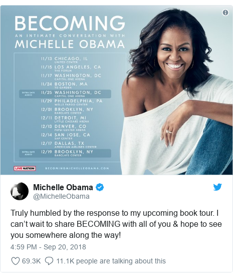 Twitter post by @MichelleObama: Truly humbled by the response to my upcoming book tour. I can't wait to share BECOMING with all of you & hope to see you somewhere along the way!
