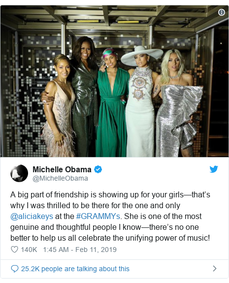 Twitter post by @MichelleObama: A big part of friendship is showing up for your girls—that's why I was thrilled to be there for the one and only @aliciakeys at the #GRAMMYs. She is one of the most genuine and thoughtful people I know—there's no one better to help us all celebrate the unifying power of music!