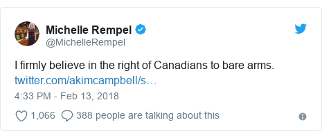 Twitter post by @MichelleRempel: I firmly believe in the right of Canadians to bare arms.